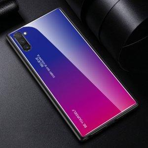 Силиконовый Градиентный Устойчивый к Царапинам Стеклянный Чехол для Samsung Galaxy Note 10 Синий / Розовый