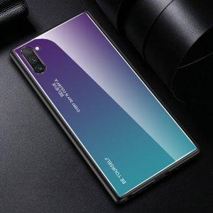 Силиконовый Градиентный Устойчивый к Царапинам Стеклянный Чехол для Samsung Galaxy Note 10 Синий