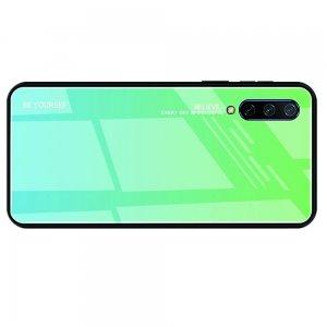 Силиконовый Градиентный Устойчивый к Царапинам Стеклянный Чехол для Xiaomi Mi 9 lite Бирюзовый / Синий