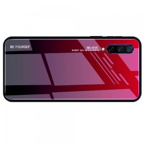 Силиконовый Градиентный Устойчивый к Царапинам Стеклянный Чехол для Xiaomi Mi 9 lite Красный / Черный