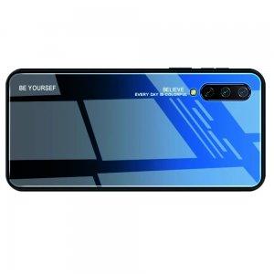 Силиконовый Градиентный Устойчивый к Царапинам Стеклянный Чехол для Xiaomi Mi 9 lite Синий / Черный