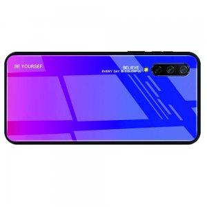 Силиконовый Градиентный Устойчивый к Царапинам Стеклянный Чехол для Xiaomi Mi 9 lite Синий / Розовый