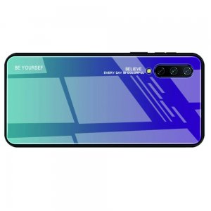 Силиконовый Градиентный Устойчивый к Царапинам Стеклянный Чехол для Xiaomi Mi 9 lite Синий