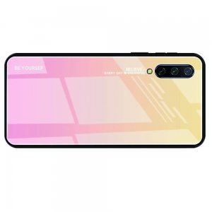 Силиконовый Градиентный Устойчивый к Царапинам Стеклянный Чехол для Xiaomi Mi 9 lite Золотой / Розовый
