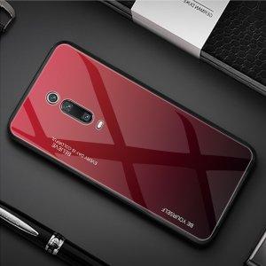 Силиконовый Градиентный Устойчивый к Царапинам Стеклянный Чехол для Xiaomi Mi 9T / Mi 9T Pro Красный / Черный