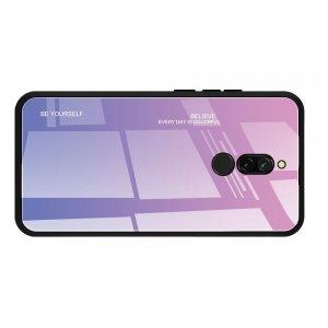 Силиконовый Градиентный Устойчивый к Царапинам Стеклянный Чехол для Xiaomi Redmi 8 Розовый