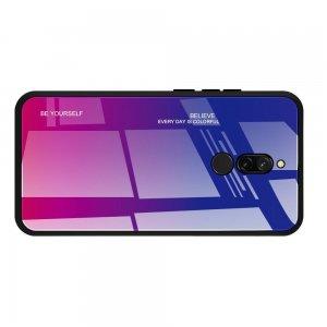 Силиконовый Градиентный Устойчивый к Царапинам Стеклянный Чехол для Xiaomi Redmi 8 Синий / Розовый