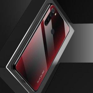 Силиконовый Градиентный Устойчивый к Царапинам Стеклянный Чехол для Xiaomi Redmi Note 8 Красный