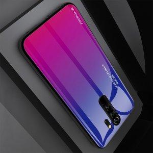 Силиконовый Градиентный Устойчивый к Царапинам Стеклянный Чехол для Xiaomi Redmi Note 8 Pro Синий / Фиолетовый