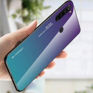 Силиконовый Градиентный Устойчивый к Царапинам Стеклянный Чехол для Xiaomi Redmi Note 8T Фиолетовый / Синий