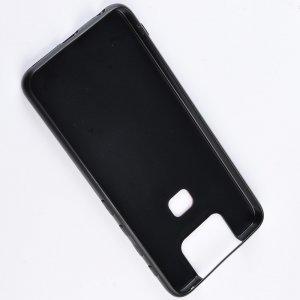 Силиконовый Защитный Чехол с Покрытием из PU Кожи для Asus Zenfone 6 ZS630KL Черный