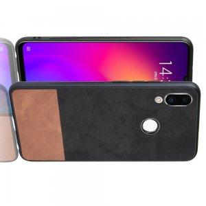 Силиконовый Защитный Чехол с Покрытием из PU Кожи для Meizu Note 9 Черный