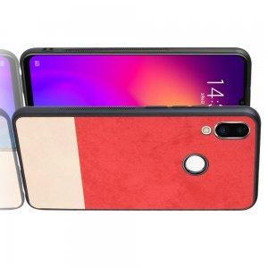 Силиконовый Защитный Чехол с Покрытием из PU Кожи для Meizu Note 9 Красный