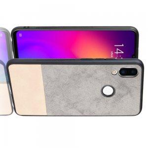 Силиконовый Защитный Чехол с Покрытием из PU Кожи для Meizu Note 9 Серый