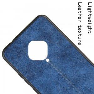 Силиконовый Защитный Чехол с Покрытием из PU Кожи для vivo V17 Синий