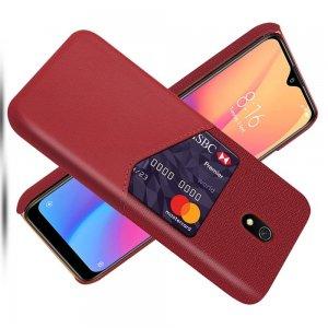 Силиконовый Защитный Чехол с Покрытием из PU Кожи для Xiaomi Redmi 8A Красный