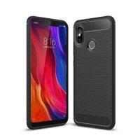 Carbon Силиконовый матовый чехол для Xiaomi Mi 8 - Черный