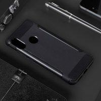 Жесткий силиконовый чехол для Xiaomi Redmi 6 Pro / Mi A2 Lite с карбоновыми вставками - Черный