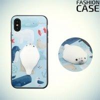 3D силиконовый чехол антистресс для iPhone X - Морской котик