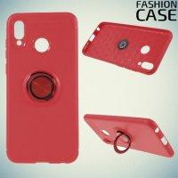 ArmaRing Двухкомпонентный чехол для Huawei Honor Play с кольцом для магнитного автомобильного держателя - Коралловый