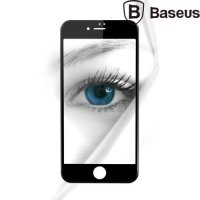 Baseus защитное стекло 3D для iphone 7 на весь экран с закругленными силиконовыми краями - Белый