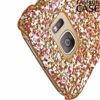 Блестящий чехол кейс для Samsung Galaxy S7 Edge - Золотой