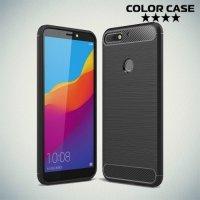 Carbon Силиконовый матовый чехол для Huawei Honor 7C Pro - Черный