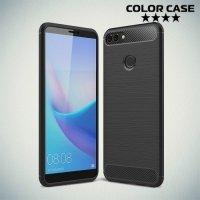 Carbon Силиконовый матовый чехол для Huawei Y9 2018 - Черный