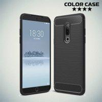 Carbon Силиконовый матовый чехол для Meizu 15 - Черный