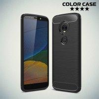 Carbon Силиконовый матовый чехол для Motorola Moto E5 - Черный