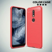 Carbon Силиконовый матовый чехол для Nokia 7.1 - Коралловый