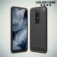 Carbon Силиконовый матовый чехол для Nokia 6.1 Plus / X6 2018 - Черный