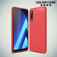Carbon Силиконовый матовый чехол для Samsung Galaxy A7 2018 SM-A750F - Коралловый