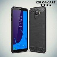 Carbon Силиконовый матовый чехол для Samsung Galaxy J6 2018 SM-J600F - Черный