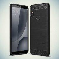 Carbon Силиконовый матовый чехол для Xiaomi Mi A2 - Черный
