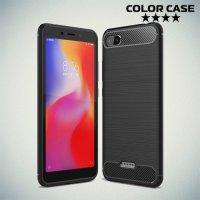 Carbon Силиконовый матовый чехол для Xiaomi Redmi 6a - Черный