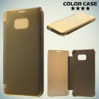 Чехол книжка ColorCase с функцией Clear View Cover для Samsung Galaxy S6 Edge Plus - Золотой