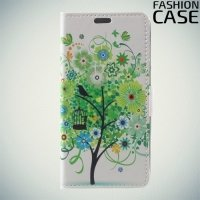 Чехол книжка для Alcatel A5 5085Q LED - с рисунком Дерево счастья