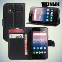 Чехол книжка для Alcatel One Touch Pixi 4 (4) 4034D - Черный