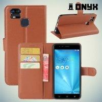 Чехол книжка для Asus ZenFone 3 Zoom ZE553KL - Коричневый