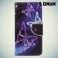 Чехол книжка для Asus Zenfone 4 ZE554KL - Бабочки на чёрном