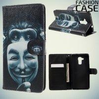 Чехол книжка для Huawei Honor 5C - с рисунком Обезьяна с маской