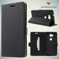Чехол книжка для Huawei Honor 5X с скрытой боковой магнитной застежкой - Черный