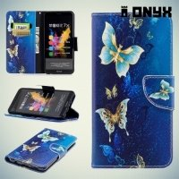Чехол книжка для Huawei Honor 7X - Бабочки на синем