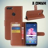 Чехол книжка для Huawei P Smart - Коричневый