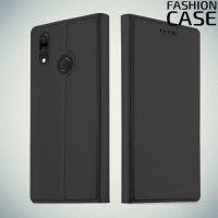 Чехол книжка для Huawei P20 Lite с скрытой магнитной застежкой - Черный