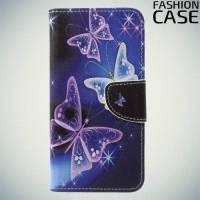 Чехол книжка для Huawei P20 Pro - с рисунком Бабочки на чёрном