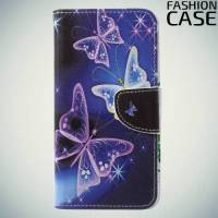 Чехол книжка для Huawei P20 - с рисунком Бабочки на чёрном