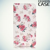 Чехол книжка для iPhone 8/7 - с рисунком Цветы