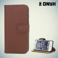Чехол книжка для iPhone SE - Коричневый